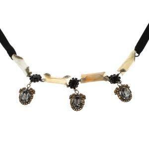 Marni Crystal & Resin Black Ribbon Tie-up Necklace