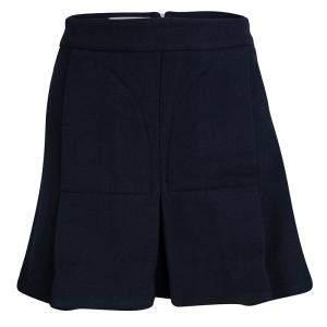 Marni Navy Blue Pleated Wool Mini Skirt M