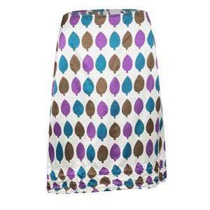 Marni Multicolor Leaf Print Ruched Hem Detail Satin Skirt S