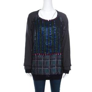 Marni Multicolor Crystal Embellished Bodice Detail Raglan Sleeve Pullover M