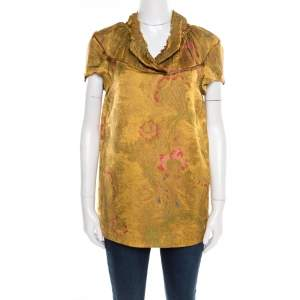 Marni Gold Floral Jacquard Frayed Trim Detail Cap Sleeve Top S