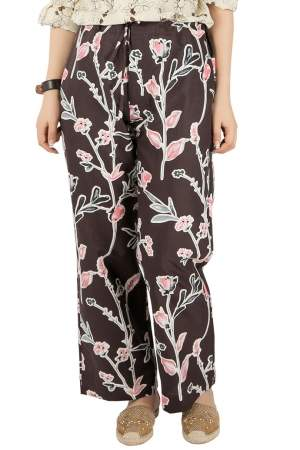 Marni Dark Raisin Honan Kew Print Cotton Silk Wide Leg Trousers S
