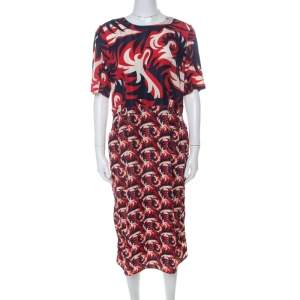 Marni Red & Blue Mixed Print Silk Blend Short Sleeve Dress M