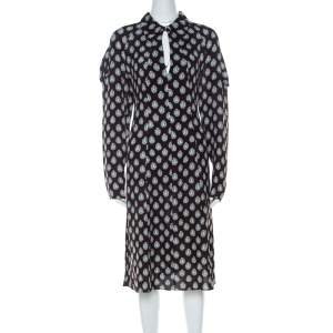 Marni Dark Brown Crystal Print Silk Flared Dress M