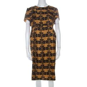 Marni Mustard Yellow and Black Printed Silk Twill Short Sleeve Shift Dress L