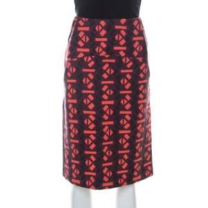 Marni Red Geometric Print Wool Pencil Midi Skirt M
