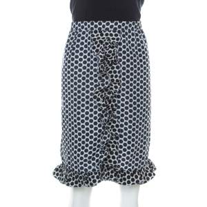 Marni Blue and White Polka Dot Printed Coated Silk Ruffle Detail Skirt S