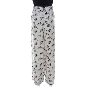 Marni Light Grey Printed Silk Wide Leg Trousers M