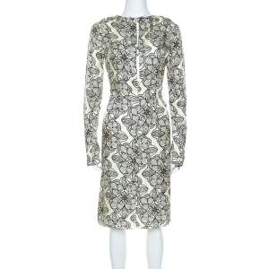 Marni Light Yellow Printed Silk Long Sleeve Dress M