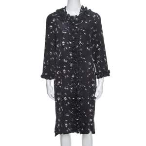 Marni Navy Blue Printed Silk Ruffled Detail Shift Dress M