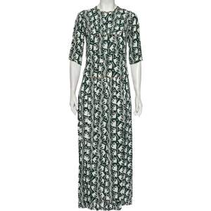 Marni Green Printed Crepe Pleated Front Detailed Maxi Dress S