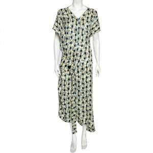 Marni Multicolored Garland Print Silk Asymmetrical Dress L