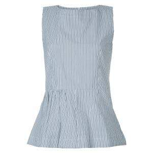 Marni White Striped Sleeveless Peplum Top S