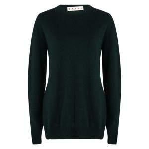 Marni Green Wool Long Sleeve High Low Sweater S