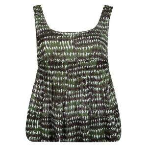 Marni Green Printed Cotton Pleated Sleeveless Top M