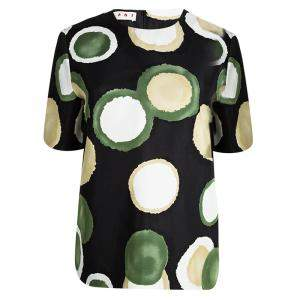 Marni Black Printed Oversized Short Sleeve Top S