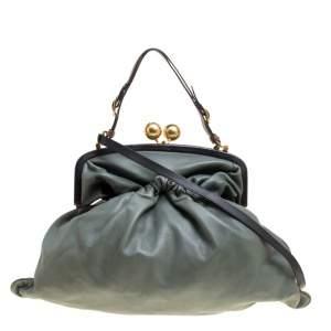 Marni Green Leather Kiss Lock Frame Shoulder Bag