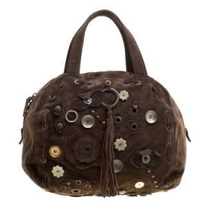 Marni Dark Brown Suede Embellished Satchel