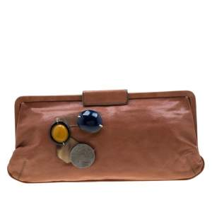 Marni Brown Glaze Leather Multicolor Stone Frame Clutch