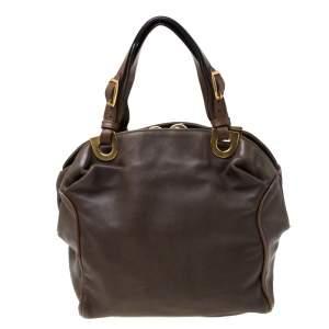 Marni Olive Green/Brown Leather Kiss lock Satchel