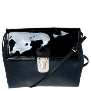 Marni Navy Blue/Black Leather and Patent Leather Flap Crossbody Bag