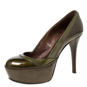 Marni Olive Green Patent Leather Platform Pumps Size 37