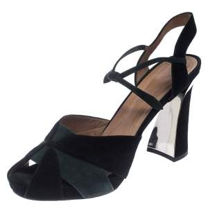 Marni Black/Green Suede Peep Toe Sandals Size 41