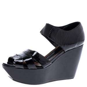 Marni Black Patent Leather Wedge Platform Sandals Size 37