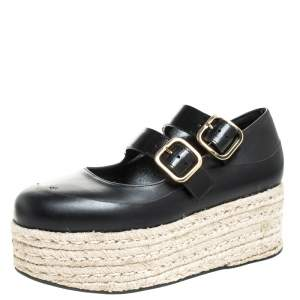 Marni Black Leather Buckle Detail Platform Espadrilles Flats Size 38