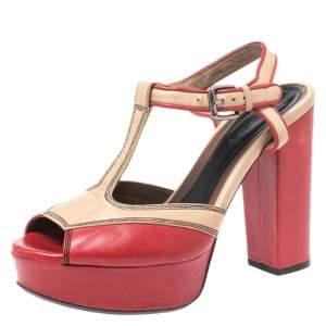 Marni Red/Beige Leather T Strap Peep Toe Platform Sandals Size 40