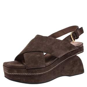 Marni Brown Suede Crisscross Wedge Sandals Size 39