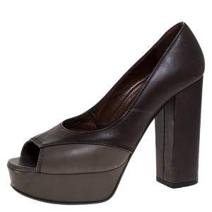 Marni Brown/Grey Leather Open Toe Platform Pumps Size 38.5
