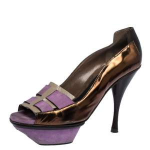 Marni Multicolor Patent Leather and Suede Cut Out Peep Toe Platform Pumps Size 37.5