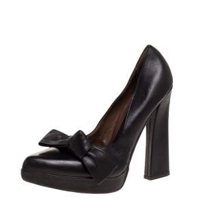 Marni Black Leather Bow Pointed Toe Platform Pumps Size 40.5