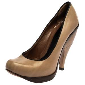 Marni Beige Leather Platform Pumps Size 37
