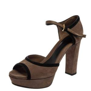 Marni Brown/Black Leather And Suede Ankle Strap Sandals Size 40
