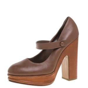 Marni Tan Leather Mary Jane Pumps Size 40