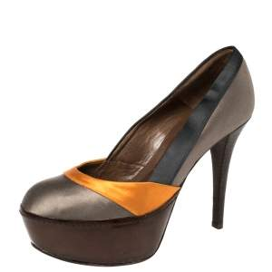 Marni Tri Color Satin Platform Pumps Size 38