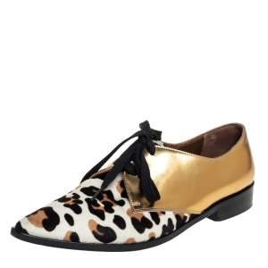 Marni Gold Leather And Calf Hair Lace-Up Oxford Size 37