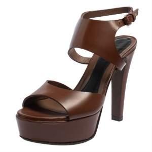 Marni Brown Leather Ankle Strap Platform Sandals Size 37