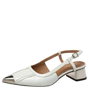Marni White Leather Slingback Cap Toe Sandals Size 37