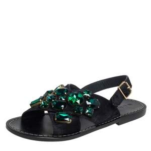 Marni Black Leather Embellished Flat Sandals Size 39.5
