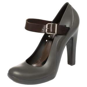 Marni Grey Jelly and Leather Mary Jane Pumps Size 37