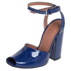 Marni Blue Patent Leather Block Heel Peep Toe Ankle Strap Sandals Size 37