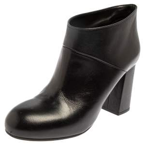 Marni Black Leather Round Toe Booties Size 37