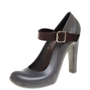 Marni Grey Rubber And Brown Leather Mary Jane Pumps Size 37