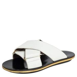 Marni White Leather Crisscross Slide Sandals Size 38