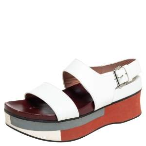 Marni White Leather Platform Slingback Sandals Size 38