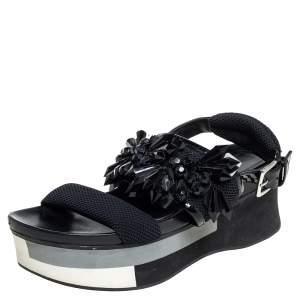 Marni Black Mesh And Patent Leather Embellished Platform Slingback Sandals Size 38