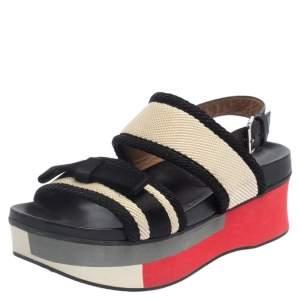 Marni Black/White Canvas And Leather Bow Embellished Slingback Platform Sandals Size 38